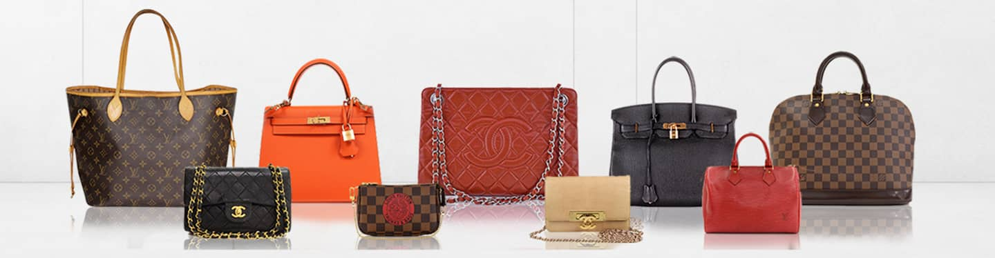 Louis Vuitton, Chanel, and Hermes handbags.